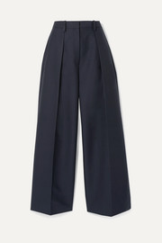 Le Pantalon Carini pleated cotton-blend wide-leg pants