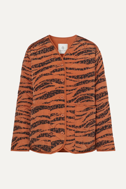 Anine Bing Elizabeth quilted tiger-print shell jacket