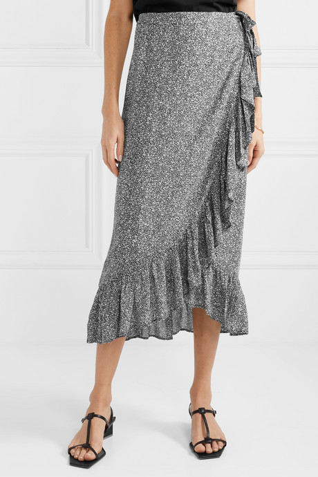Lucky ruffled printed crepe wrap skirt