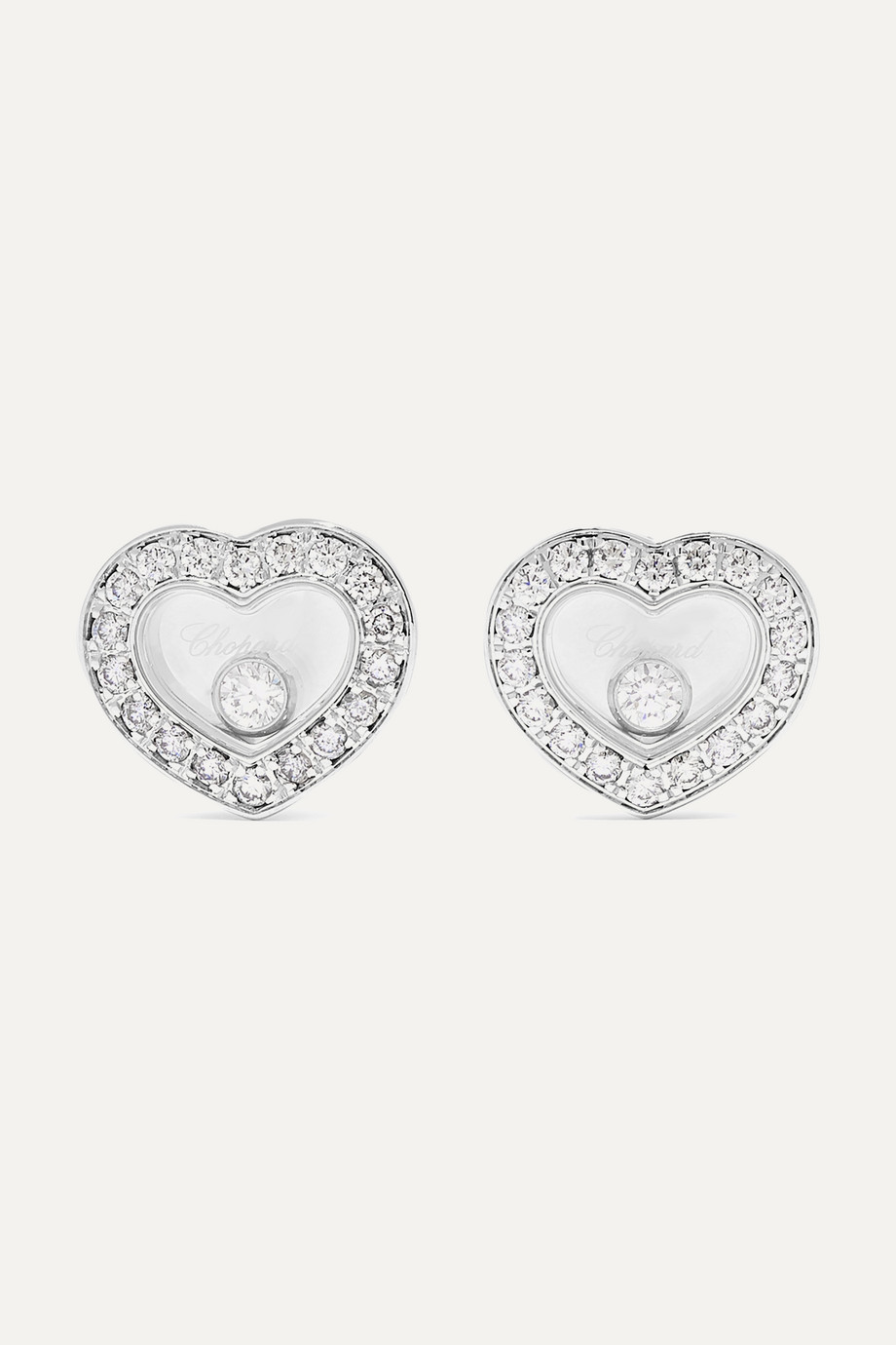Chopard + NET SUSTAIN Happy Diamonds 18-karat white gold diamond earrings