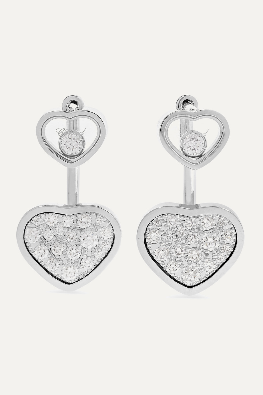 Chopard Boucles d'oreilles en or blanc 18 carats et diamants Happy Hearts