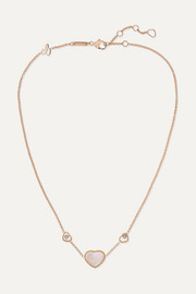 Happy Hearts 18-karat rose gold, diamond and mother-of-pearl necklace