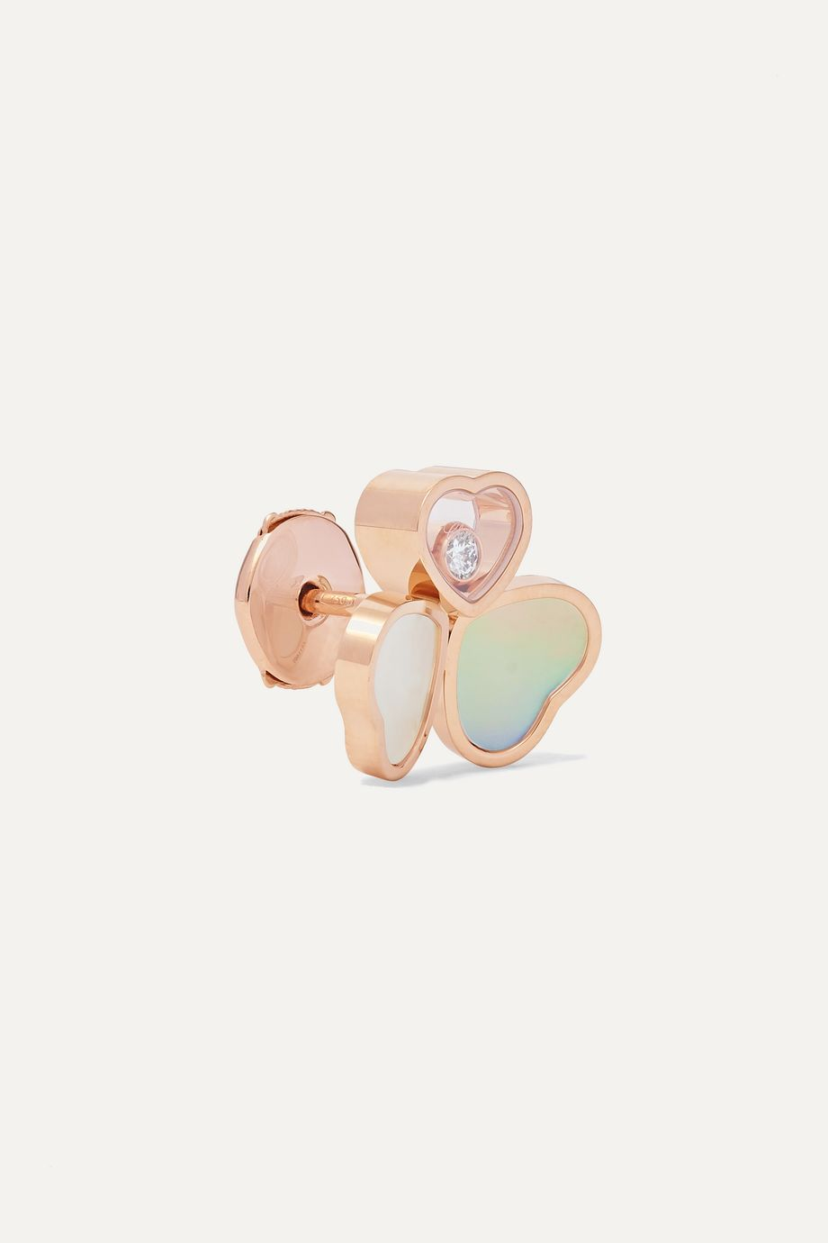 Chopard Happy Hearts Wings 18-karat rose gold, mother-of-pearl and diamond earrings