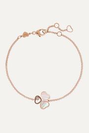 Chopard Happy Hearts Wings 18-karat rose gold, mother-of-pearl and diamond bracelet