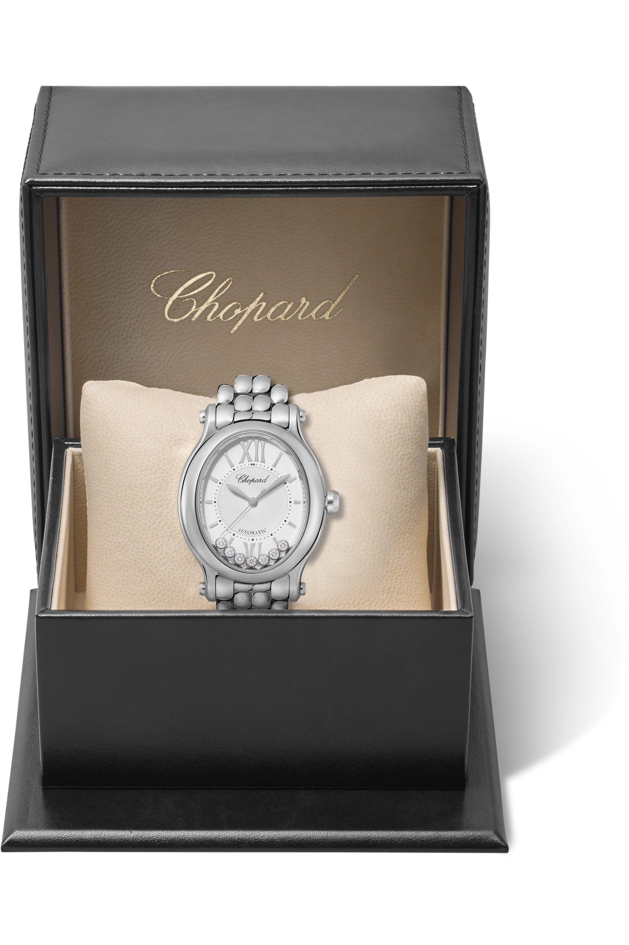 Chopard Happy Sport Oval Automatic 29mm stainless steel and diamond watch