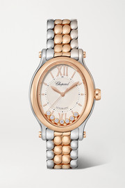 Happy Sport Oval Automatic 29mm 18-karat rose gold, stainless steel and diamond watch