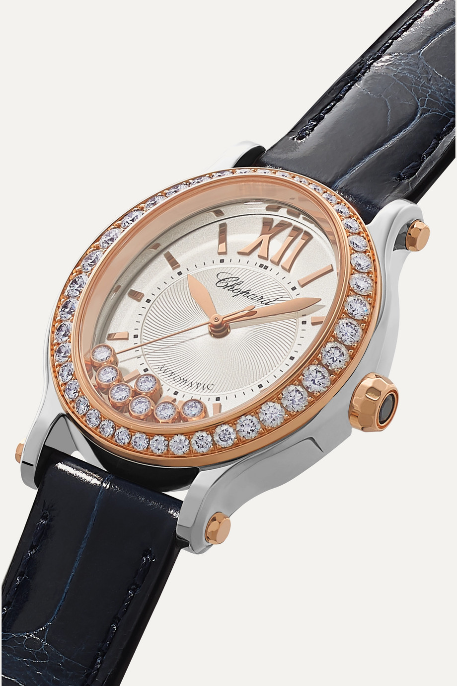 Chopard Happy Sport Oval 29mm 18-karat rose gold, stainless steel, alligator and diamond watch