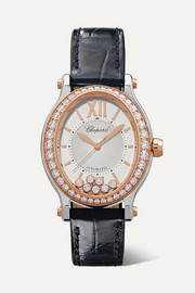 Happy Sport Oval 29mm 18-karat rose gold, stainless steel, alligator and diamond watch