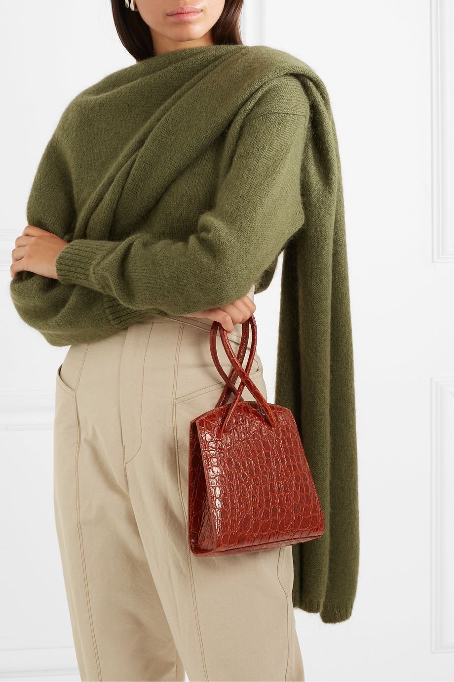 Little Liffner Twisted mini croc-effect leather tote