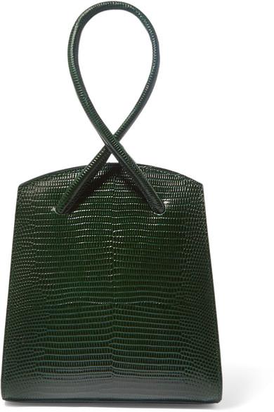 Twisted mini lizard-effect leather tote