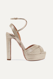 Caprice 130 metallic faux leather platform sandals