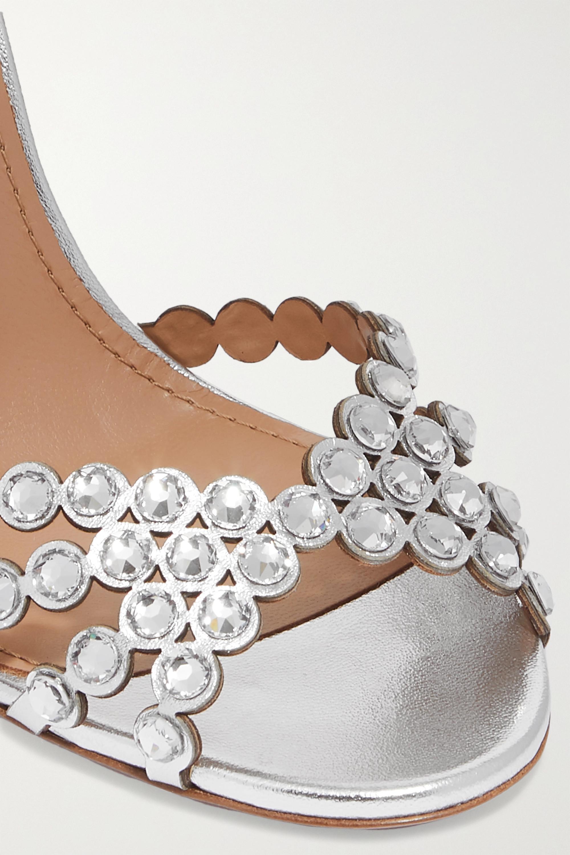 Aquazzura Tequila 105 crystal-embellished metallic leather sandals
