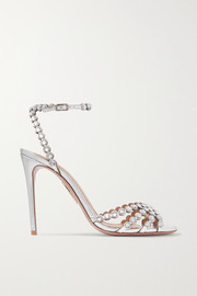 Tequila 105 crystal-embellished metallic leather sandals