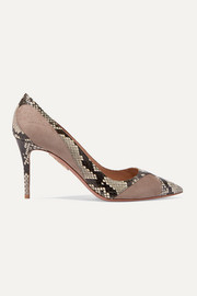 Satine 85 elaphe and suede pumps