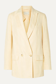 ARJÉ Alek double-breasted striped linen-blend jacquard blazer