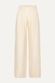 Striped linen-blend jacquard wide-leg pants