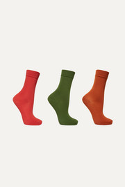 Set of three stretch cotton-blend socks