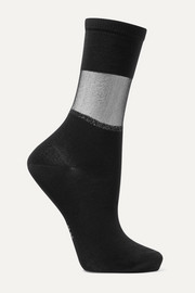 Sheer Elegance mesh-trimmed cotton-blend jersey socks