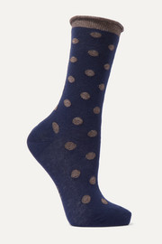 FALKE Soft Dot metallic stretch-knit socks