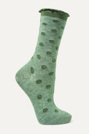 Soft Dot ruffle-trimmed metallic stretch-knit socks