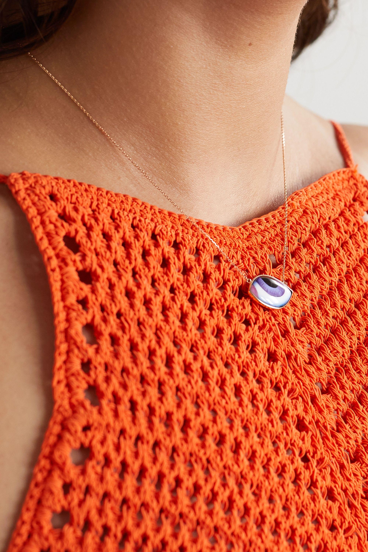 Lito Tu Es Partout 14-karat rose gold and enamel necklace