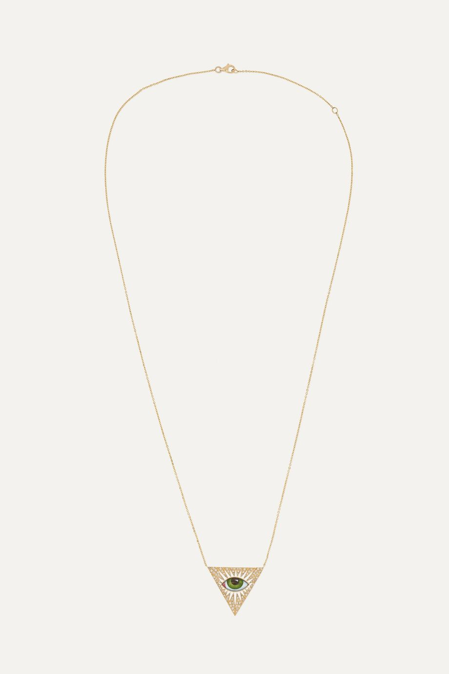 Lito Tu Es Partout Kette aus 14 Karat Gold mit Emaille und Diamanten