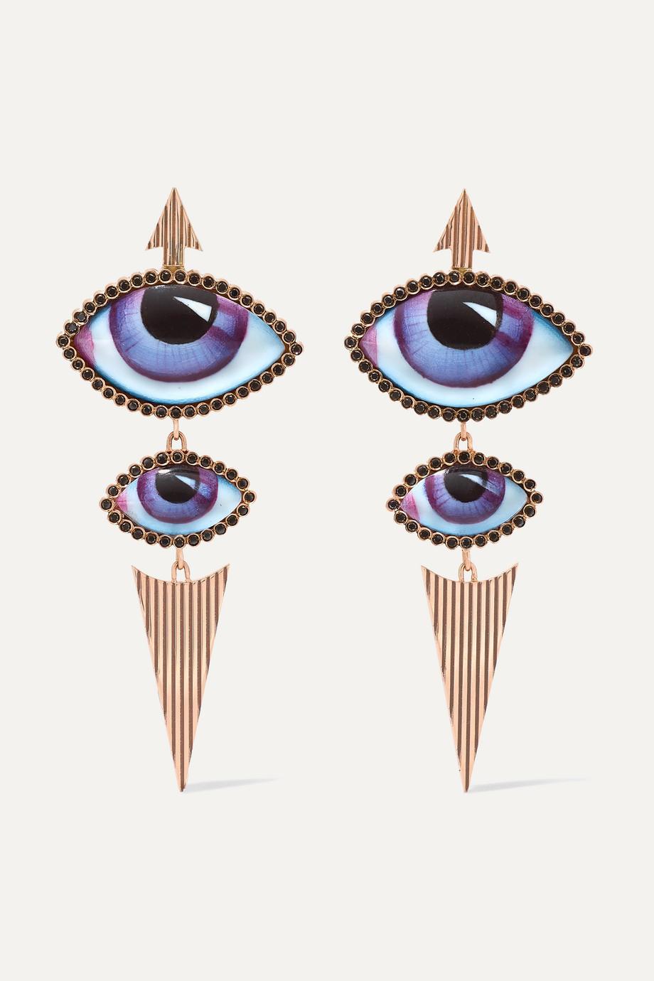 Lito Tu Es Partout Ohrringe aus 14 Karat Roségold mit Emaille und Diamanten