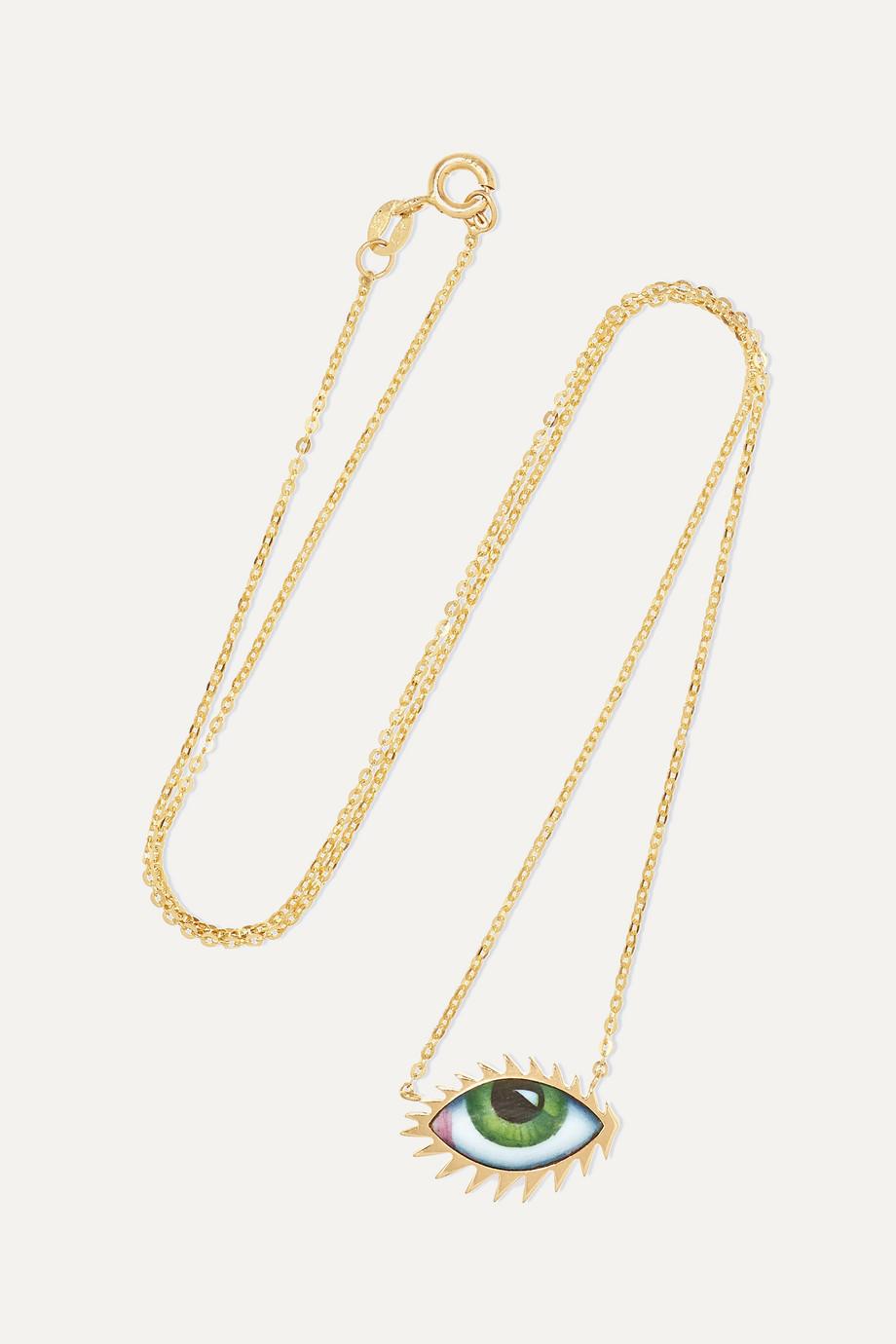 Lito Tu Es Partout 14-karat gold enamel necklace