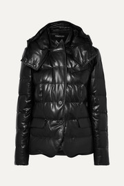 Hooded quilted leather down jacket