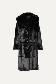 TOM FORD Oversized hooded leather-trimmed faux fur coat