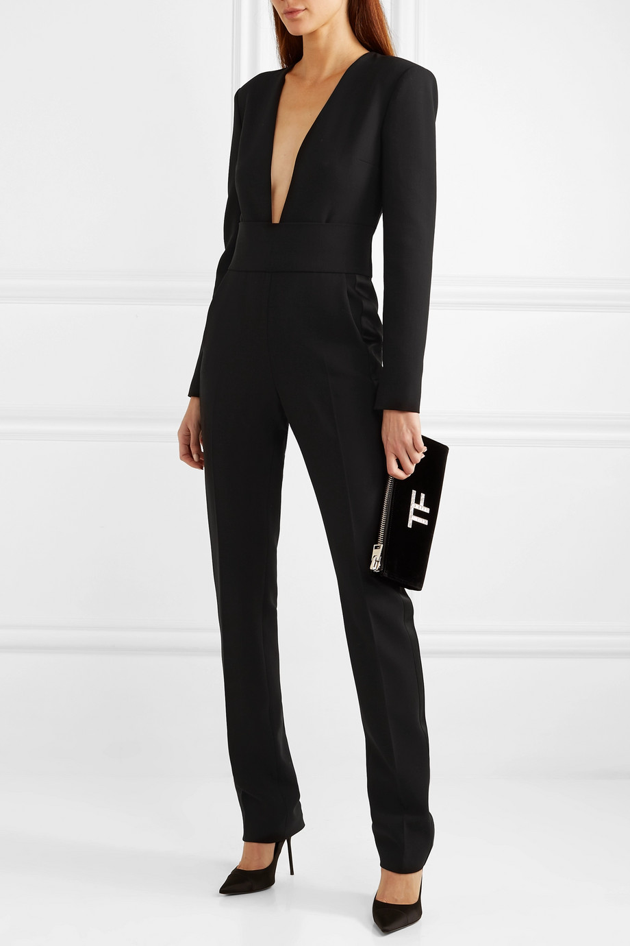 TOM FORD Silk satin-trimmed wool-blend jumpsuit
