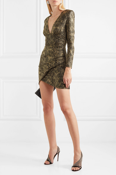 Diaz Ruched Metallic Snake Print Crepe Mini Dress by Alice + Olivia
