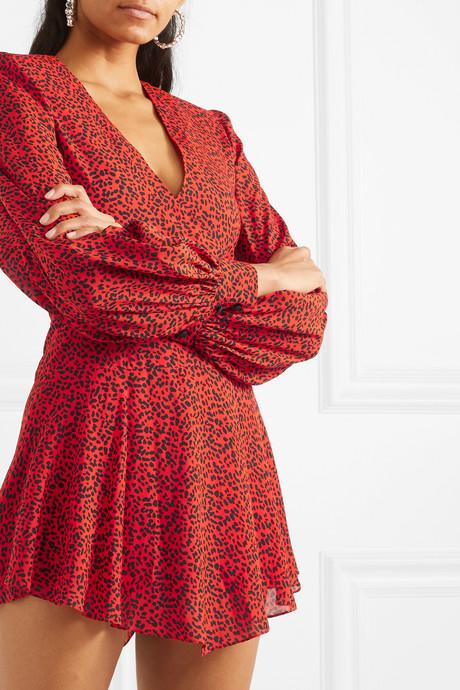 Polly wrap-effect animal-print crepe mini dress