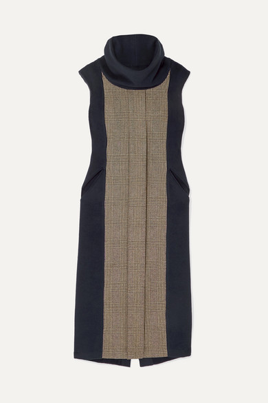 athena-prince-of-wales-checked-wool-and-cashmere-blend-and-fleece-dress by giuliva-heritage-collection