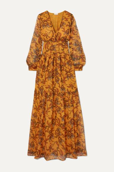 Lola Tiered Printed Chiffon Maxi Dress In Saffron