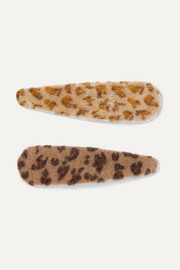 Lorelei set of two leopard-print faux fur hair clips