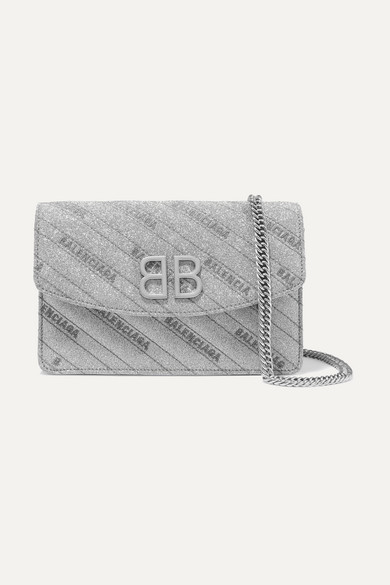 Bb Glittered Leather Shoulder Bag by Balenciaga