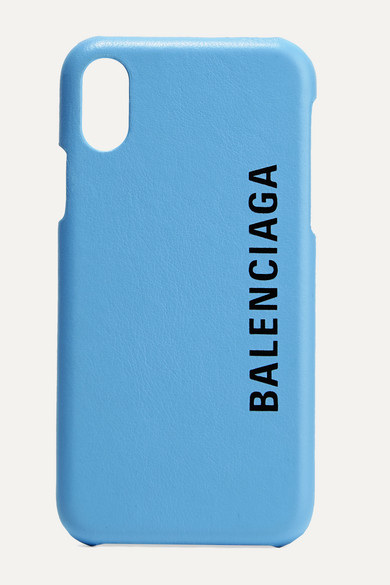 hot sale online 28ea5 7ed66 Printed Textured-Leather Iphone X Case in Light Blue