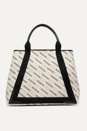 Cabas medium leather-trimmed printed canvas tote