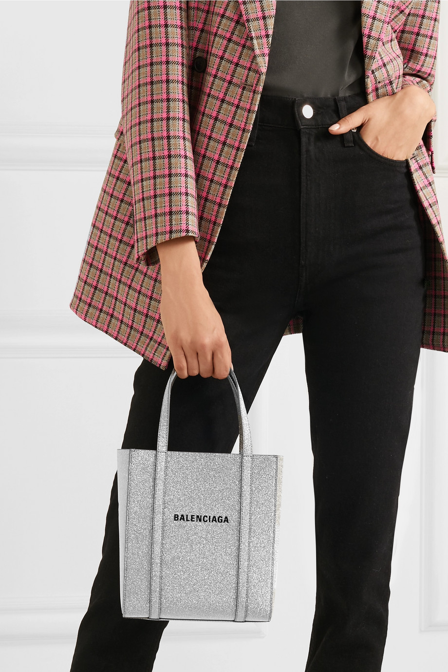 Balenciaga Everyday XXS AJ printed glittered leather tote