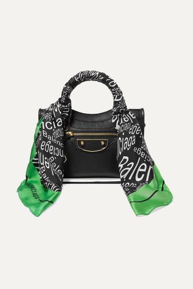 Balenciaga Classic City Aj Printed Silk-Twill-Trimmed Textured-Leather Tote In Black