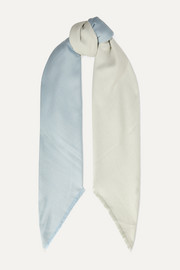 Frayed two-tone cashmere and silk-blend twill scarf