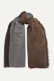 Frayed color-block cashmere scarf