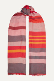 Reversible frayed striped cashmere and silk-blend scarf
