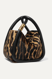 Wonton 20 leather-trimmed animal-print calf hair tote