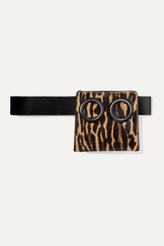 Deon animal-print calf hair and leather belt bag