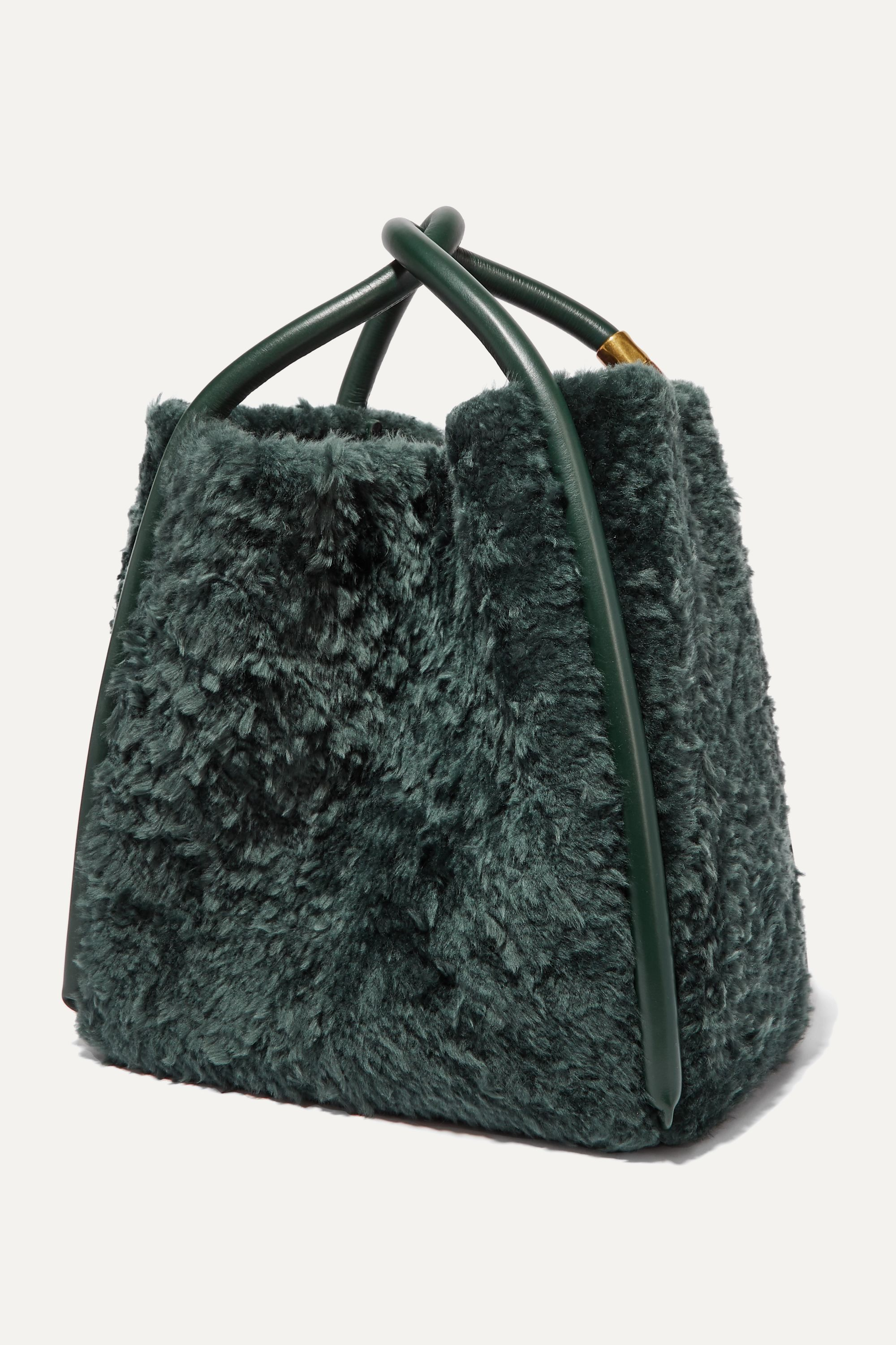 BOYY Lotus 28 leather-trimmed shearling tote