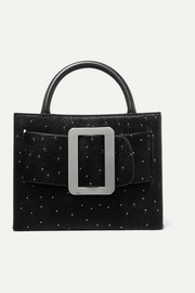 Bobby 23 Star leather-trimmed studded calf hair tote