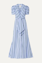 Rosie Assoulin Striped cotton-blend poplin maxi dress