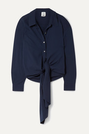Oversized reversible tie-front cotton-crepe shirt